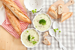 Домодельный сметанообразный суп брокколи Стоковые Изображения