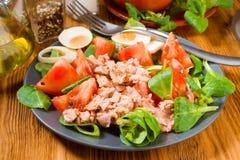 Домодельный среднеземноморской салат с оливковым маслом Стоковые Фотографии RF