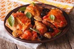Домодельный цыпленок Cacciatori на конце-вверх плиты горизонтально стоковое фото rf