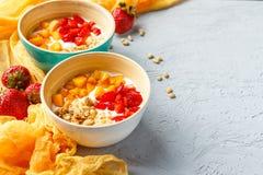 Домодельный югурт с гайками granola, абрикоса и сосны стоковые изображения rf