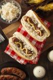 Домодельный Bratwurst с Sauerkraut Стоковое Изображение
