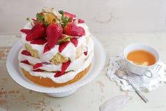 Домодельный cream десерт торта слоя, свежих, красочных, и очень вкусного с сочными клубниками, сладостным взбитым cream и плавлен Стоковые Фотографии RF