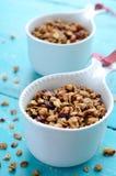 Домодельный granola на деревянной предпосылке бирюзы Стоковые Фотографии RF