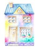 Дом акварели multicolor иллюстрация вектора