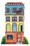 Дом акварели с котом Стоковые Изображения RF