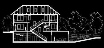 Дом архитектурноакустического эскиза трехуровневый Секционный чертеж на черной предпосылке Стоковая Фотография RF