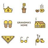 Дом бабушки Комплект плоской линии значков конструкция самомоднейшая Стоковая Фотография RF