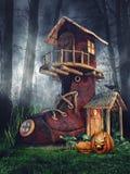 Дом ботинка с тыквами иллюстрация вектора