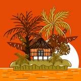 Дом бунгало на тропическом острове во время захода солнца иллюстрация вектора