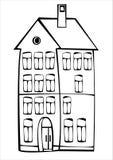 Дом вектора винтажный изолированный на белизне Стоковые Изображения