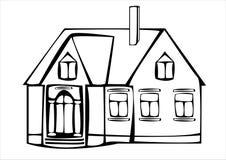 Дом вектора винтажный изолированный на белизне Стоковое Изображение RF