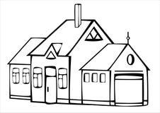 Дом вектора винтажный изолированный на белизне Стоковое фото RF