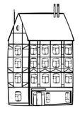 Дом вектора винтажный обрамляя изолированный на белизне Стоковое Изображение RF