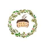 Дом венка рождества акварели иллюстрация штока