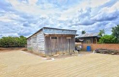 Дом вполне рисовых полей в дворе отражает Стоковые Фото