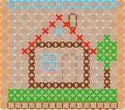 Дом, вышитый крест Стоковые Изображения