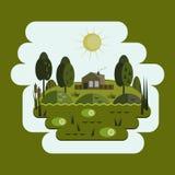 Дом в болоте, болото, плоский дизайн Стоковое Изображение