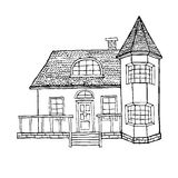 Дом в деревне с эркером, башенкой, просторной квартирой и террасой Дом в викторианском стиле Стоковая Фотография