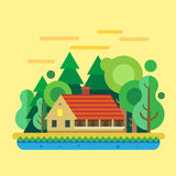 Дом в лесе, ландшафте лета Стоковое Фото