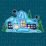 Дом в лесе зимы Стоковая Фотография