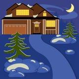 Дом в ноче зимы бесплатная иллюстрация