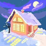 Дом в ноче зимы Стоковое Изображение RF