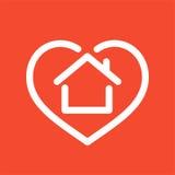 Дом в логотипе сердца иллюстрация вектора