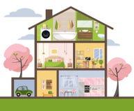 Дом в отрезке Детальный интерьер Установите комнат с мебелью Поперечное сечение со спальней, комнатой прожития, кухней, обедая, b иллюстрация вектора