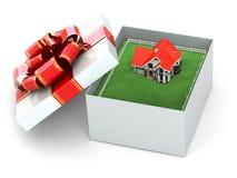 Дом в подарочной коробке. иллюстрация вектора