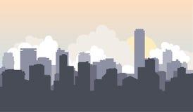 Дом города городской пейзаж предпосылки солнца Стоковые Фото