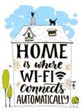 Дом где wifi соединяется автоматически Фраза потехи о интернете Handmade литерность в доме нарисованном рукой с котом Стоковое Изображение