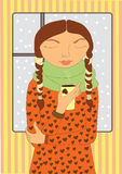 дом девушки кофе крышки Стоковая Фотография RF