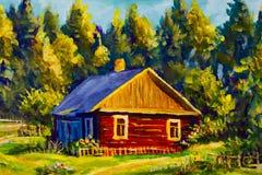 Дом деревни картины, солнечный ландшафт, ландшафт лета на фоне леса Стоковые Изображения