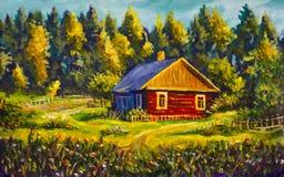Дом деревни картины, солнечный ландшафт, ландшафт лета на фоне леса Стоковое Изображение