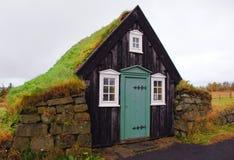Дом дерна на музее Arbaer под открытым небом, Исландии Стоковые Фото