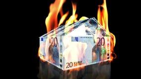 Дом ЕВРО на огне, петле, отснятом видеоматериале запаса иллюстрация вектора