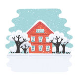 Дом зимы Дом осени Дом семьи пригородный Иллюстрация вектора плоская Стоковое Изображение