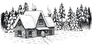 Дом зимы окруженный елями и соснами, покрытыми с снегом Ландшафт рождества идилличный иллюстрация вектора
