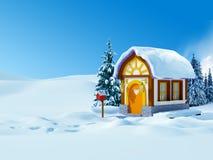 Дом зимы с почтовым ящиком иллюстрация вектора