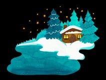 Дом зимы уютный со снегом и звездами иллюстрация вектора