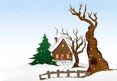 Дом зимы шаржа. Иллюстрация вектора Стоковое Изображение RF