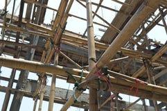Дом здания детали с бамбуковой структурой Стоковая Фотография