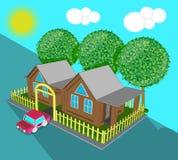 Дом игрушки деревни фантастичный в равновеликом взгляде в дневном времени иллюстрация вектора