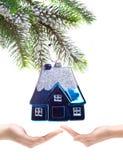 Дом игрушки малая - сновидение Новый Год Стоковая Фотография RF