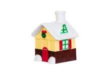 Дом игрушки рождества на белой предпосылке Стоковая Фотография