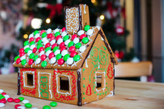 Дом имбиря печенья и конфеты пряника Стоковое Изображение