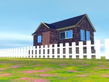 Дом и белая загородка пикетчика Стоковые Изображения