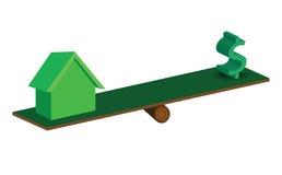 Дом и деньги на масштабе природы иллюстрация вектора