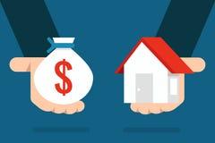 Дом и деньги иллюстрация штока