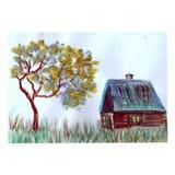 Дом и дерево акварели стоковое изображение rf